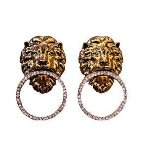 Retro 80s inspired lion head earrings